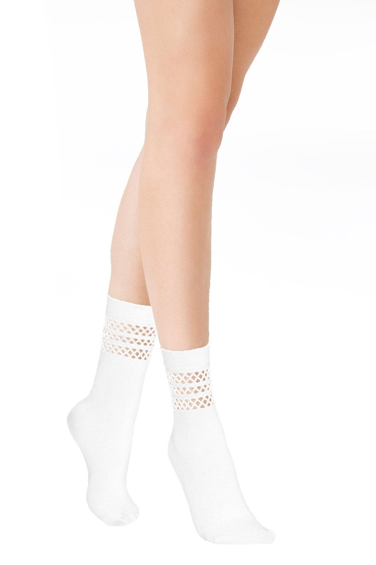 MiteLove Mite Love Soket Çorap Düet File Beyaz