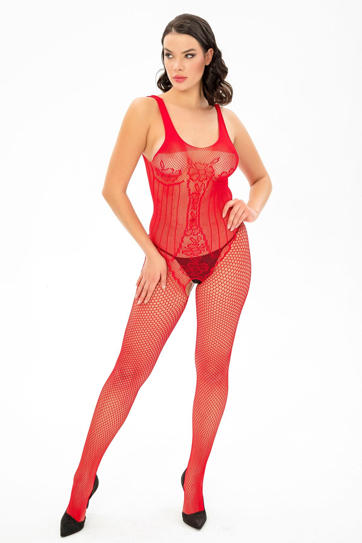 MiteLove Mite Love File Lazer Kesim Vücut Çorabı Kırmızı