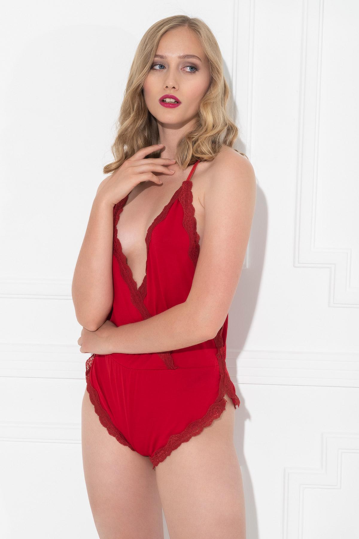 MiteLove Mite Love Kadın Pijama Kırmızı Tulum Gecelik
